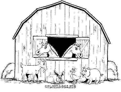 Coloriage et dessins gratuits Chevaux dans leur stable à imprimer