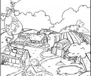 Coloriage et dessins gratuit Ferme agricole dessin animé à imprimer