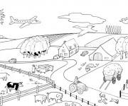 Coloriage et dessins gratuit Ferme avec animaux à imprimer