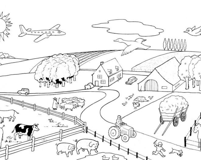 Coloriage et dessins gratuits Ferme avec animaux à imprimer