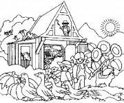 Coloriage et dessins gratuit Ferme Dans La campagne à imprimer