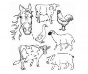 Coloriage Ferme et animaux en couleur