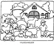 Coloriage Fermier animaux de ferme
