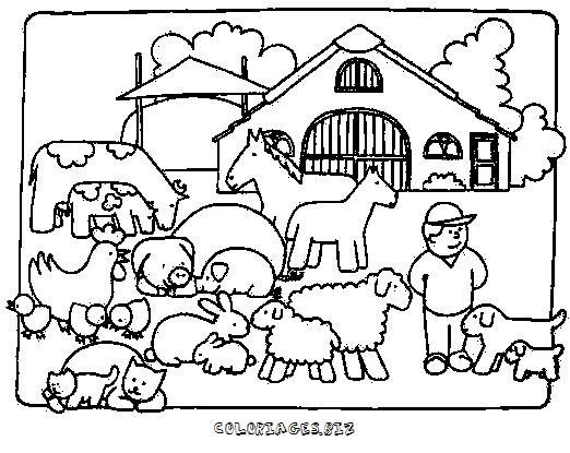 Coloriage et dessins gratuits Fermier animaux de ferme à imprimer