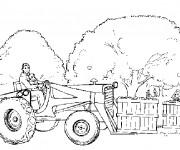 Coloriage Fermier avec son fils sur tracteur