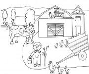 Coloriage et dessins gratuit Fermier dans La Campagne à imprimer