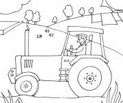 Coloriage et dessins gratuit Fermier dans son tracteur à imprimer