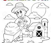 Coloriage Fermier enfant travaille