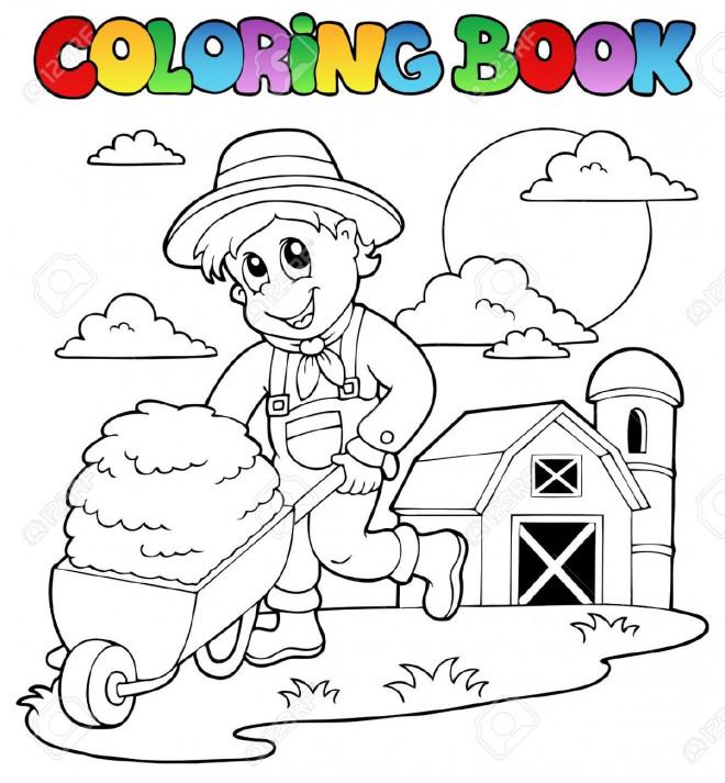 Coloriage et dessins gratuits Fermier enfant travaille à imprimer