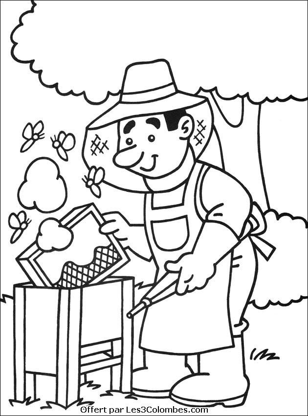 Coloriage et dessins gratuits Fermier et maison des abeilles à imprimer