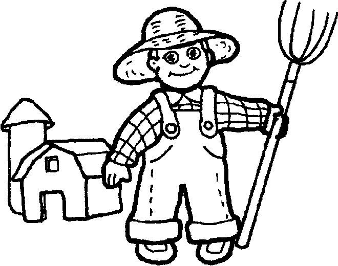 Coloriage et dessins gratuits Fermier et outil de ferme à imprimer