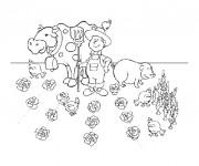 Coloriage Fermier et ses animaux dans le champs