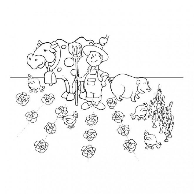 Coloriage fermier et ses animaux dans le champs dessin - Coloriage fermier ...