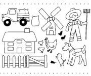 Coloriage et dessins gratuit Fermier et ses animaux de ferme à imprimer