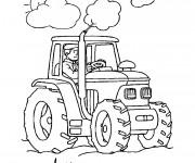 Coloriage Fermier et tracteur laboure la terre