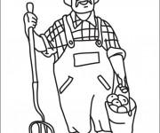 Coloriage et dessins gratuit Fermier porte un seau à imprimer