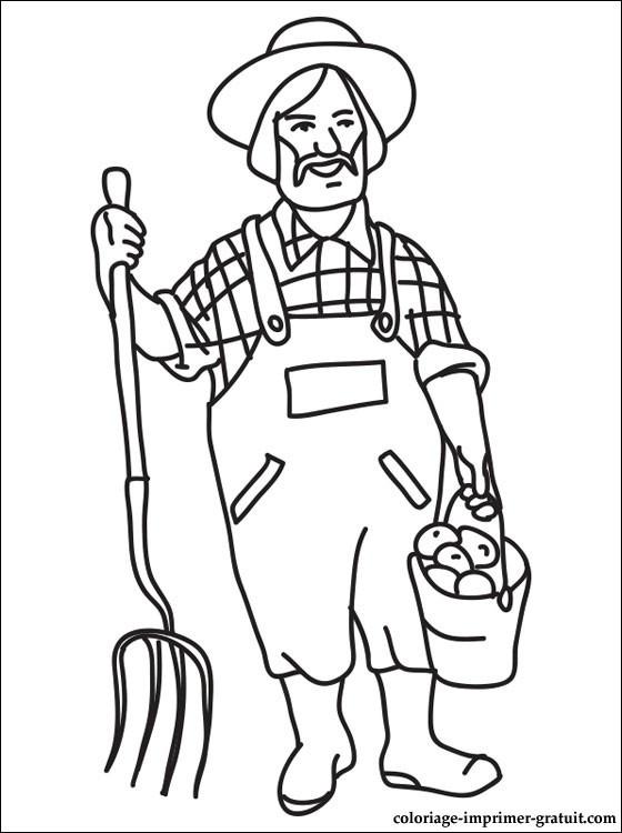 Coloriage et dessins gratuits Fermier porte un seau à imprimer