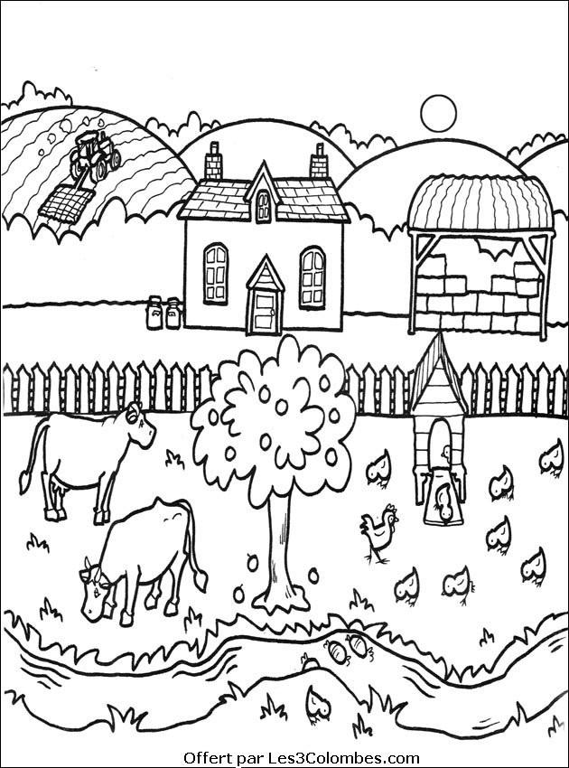 Coloriage et dessins gratuits Fermier tracteur dessin à imprimer