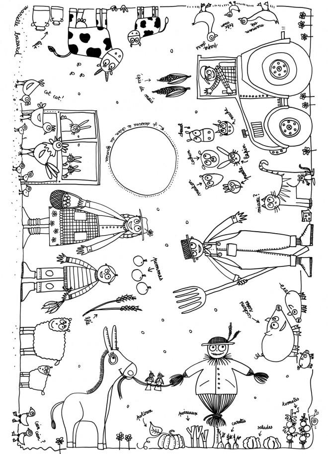 Coloriage et dessins gratuits Fermiers et leurs animaux à imprimer