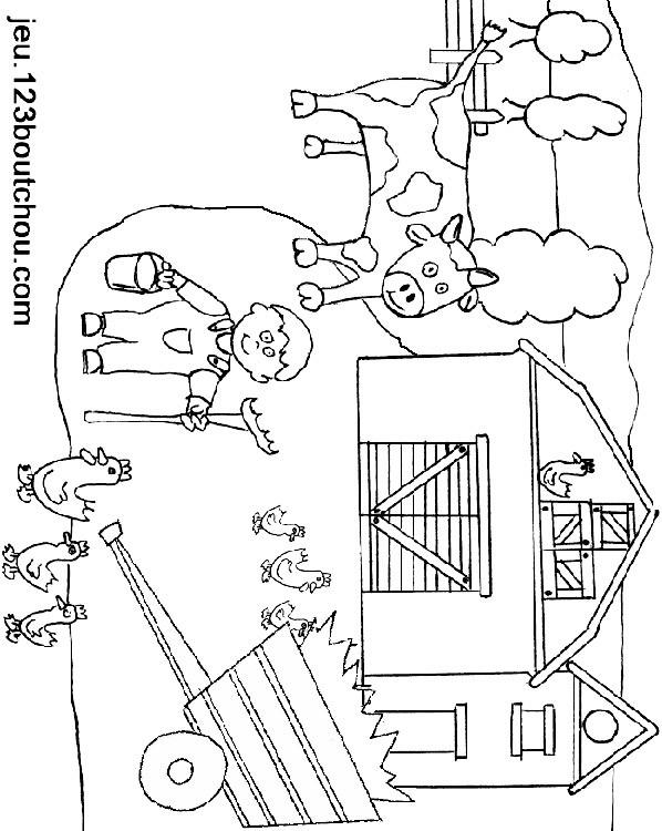 Coloriage et dessins gratuits Image de ferme en couleur à imprimer
