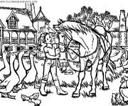 Coloriage La fille et les animaux de ferme