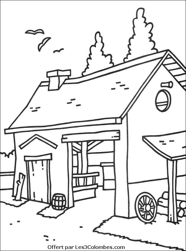 Coloriage et dessins gratuits Le stable de ferme à imprimer