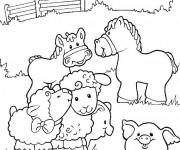 Coloriage et dessins gratuit Les animaux de ferme en couleur à imprimer