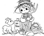 Coloriage Petite Fermière et chèvre