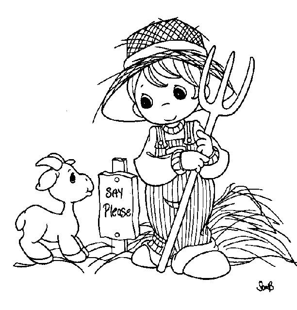 Coloriage et dessins gratuits Petite Fermière et chèvre à imprimer