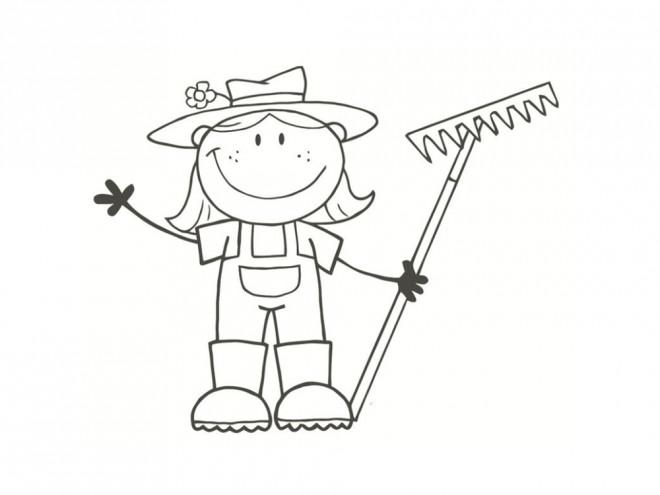 Coloriage et dessins gratuits Petite fille Fermière à imprimer