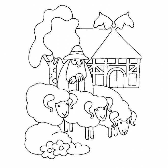Coloriage et dessins gratuits Un berger et ses moutons à imprimer
