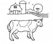 Coloriage et dessins gratuit Une vache de ferme à imprimer