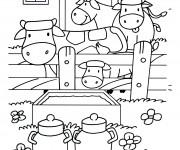 Coloriage Vaches et stable