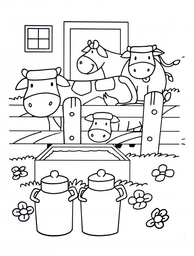 Coloriage et dessins gratuits Vaches et stable à imprimer
