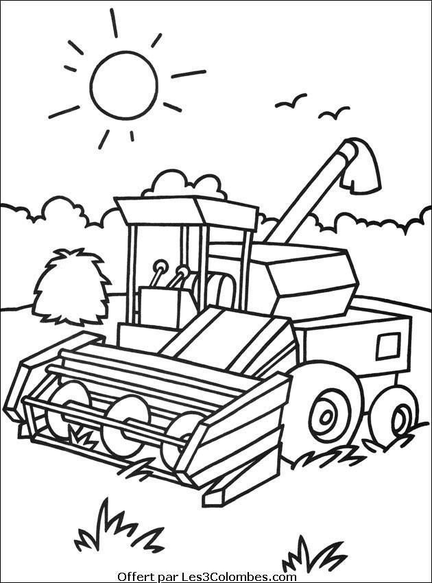 Coloriage v hicule agricole dessin gratuit imprimer - Coloriage tracteur en ligne ...
