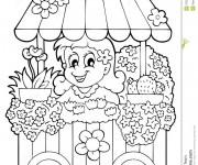 Coloriage Fleuriste 6