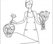 Coloriage et dessins gratuit Fleuriste 9 à imprimer