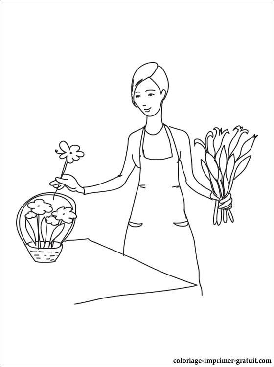 Coloriage et dessins gratuits Fleuriste 9 à imprimer