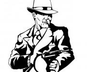 Coloriage Gangster en costume avec mitraillette