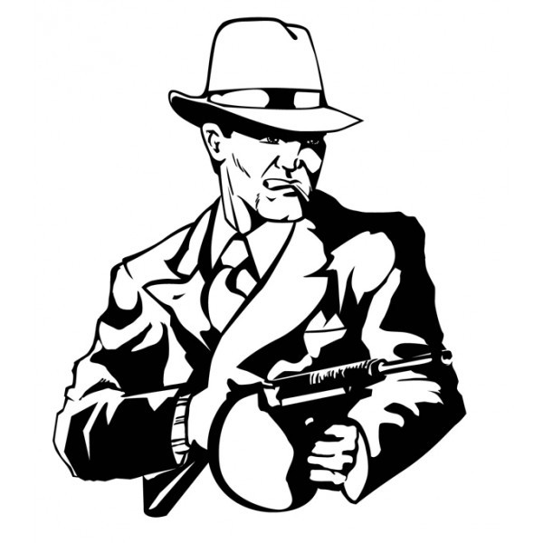 Coloriage et dessins gratuits Gangster en costume avec mitraillette à imprimer