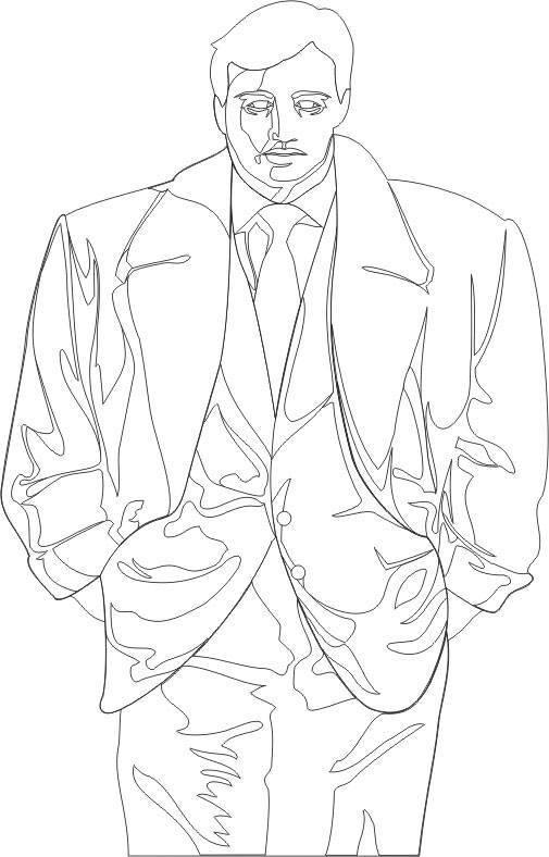 Coloriage et dessins gratuits Gangster en veste à imprimer
