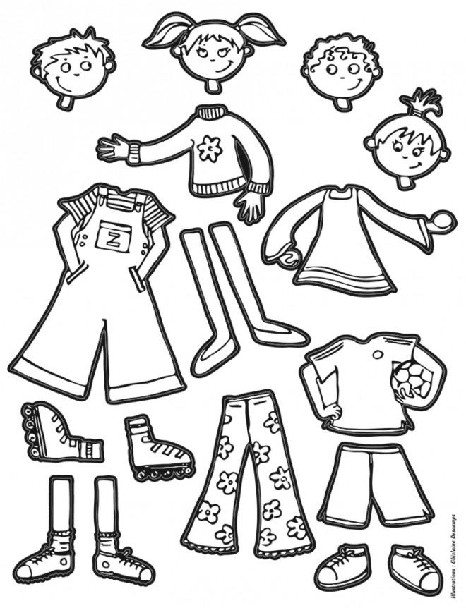 Coloriage des v tements d 39 enfants dessin gratuit imprimer - Dessin fille et garcon ...