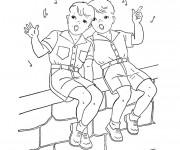Coloriage Deux garçons chantent