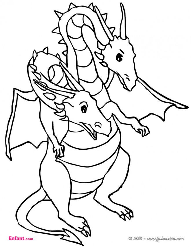 Coloriage et dessins gratuits Dragon à deux tête à imprimer