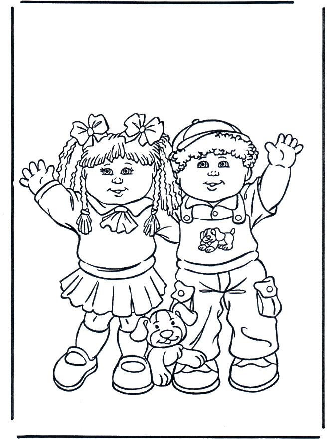 Coloriage et dessins gratuits La fille et le garçon avec leur chien à imprimer