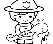 Coloriage Le garçon pompier