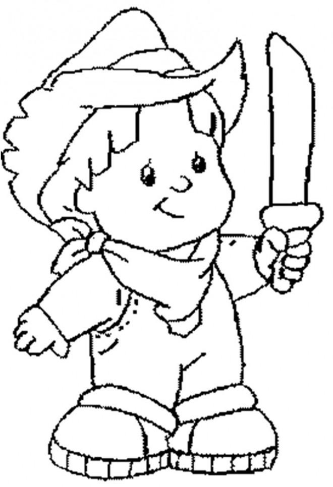 Coloriage et dessins gratuits Le petit garçon avec une épée à imprimer