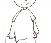 Coloriage Le petit garçon français tout souriant