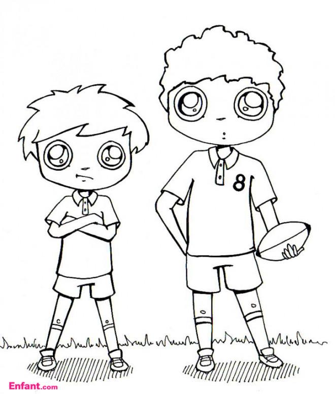 Coloriage les gar ons jouent le rugby dessin gratuit imprimer - Dessin fille et garcon ...