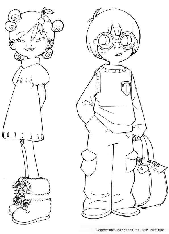 Coloriage les v tements d 39 une fille et d 39 un gar on - Comment colorier un manga ...